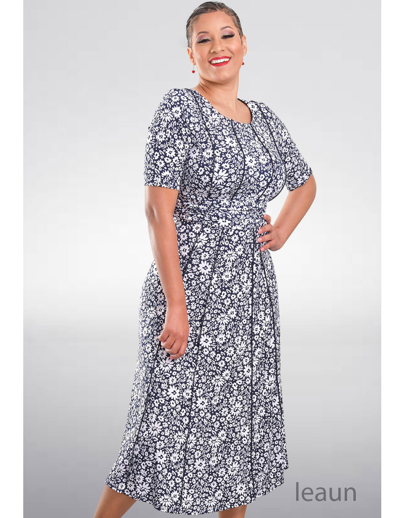 IEAUN-Printed Fit and Flare Dress