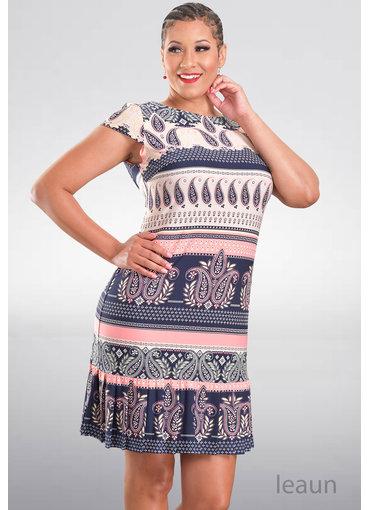 Sandra Darren IANDA- Puff Printed Cap Sleeve Dress