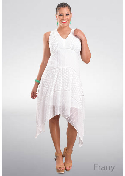 FRANY- Sleeveless Textured Dress with Points