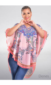 ACE Fashions DENES- Printed Poncho Cover Up