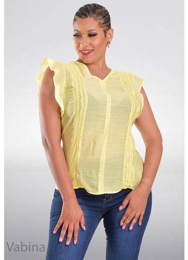 ZAC & RACHEL VABINA- V-Neck Frill Sleeve Top with Crochet Lines