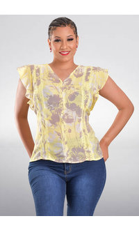 HOPE & HARLOW VABINA- Floral Frill Sleeve Top with Crochet Lines