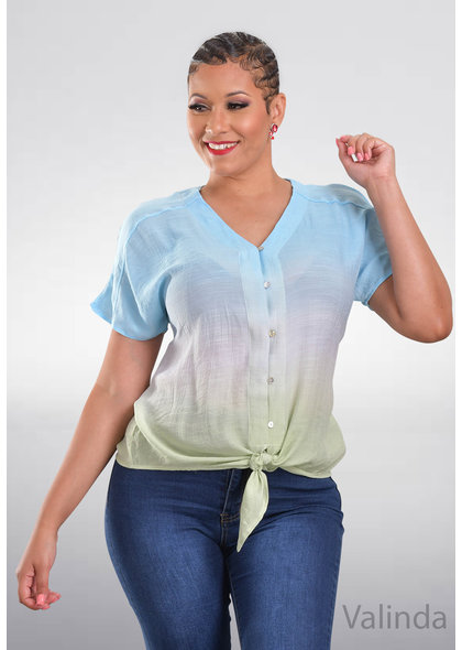 ZAC & RACHEL VALINDA- V-Neck 2 Tone Top
