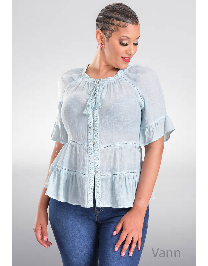 ZAC & RACHEL VANN- Solid Top with Embroidery