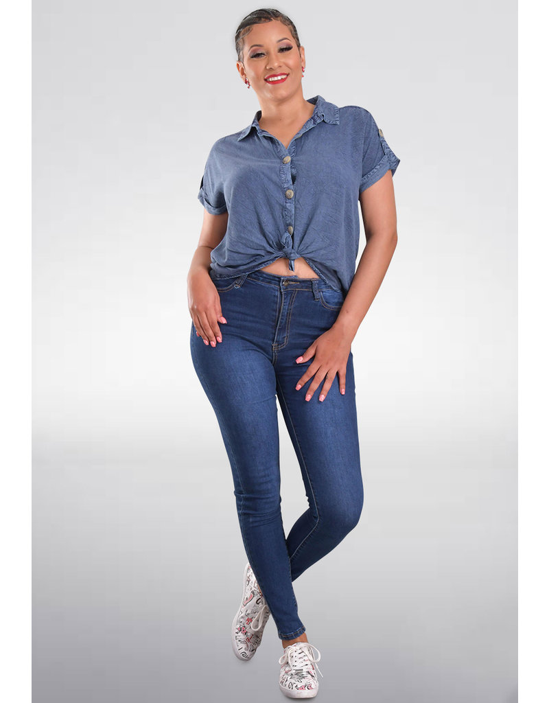 Unique Spectrum VARRY- Short Jeans Top with Collar