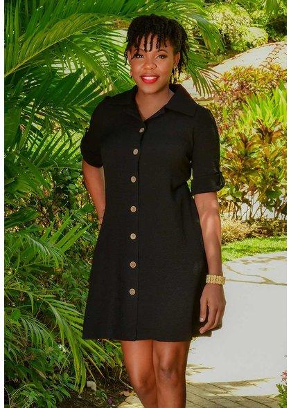 Nina Leonard RADONA- Shirt Dress with Rolled Sleeves