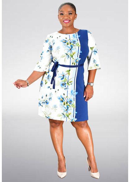 RIAM- Plus Size Printed Short Sleeve Dress