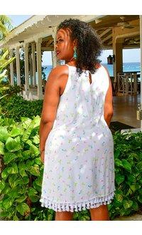 Nina Leonard KOFFEE- Printed Dress with Tassels