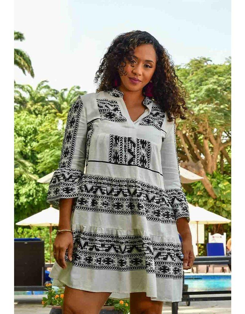 MSK KARLY- Tribal Print Three Quarter Sleeve Dress