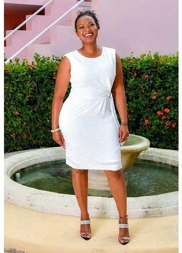 Sandra Darren ILANO- Faux Wrap Dress