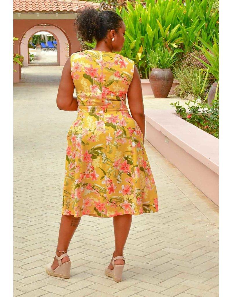 Sandra Darren NOLIE- Floral Print Sleeveless Dress