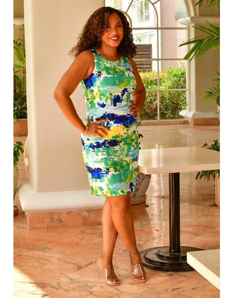 Sandra Darren NOUTRI- Abstract Print Sleeveless Dress