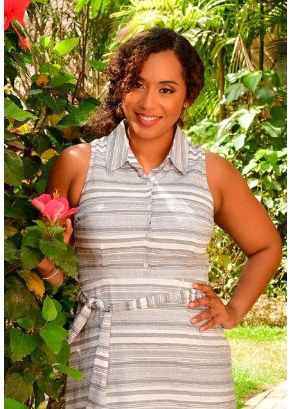 Sandra Darren KAHIL- Striped Fit and Flare Dress