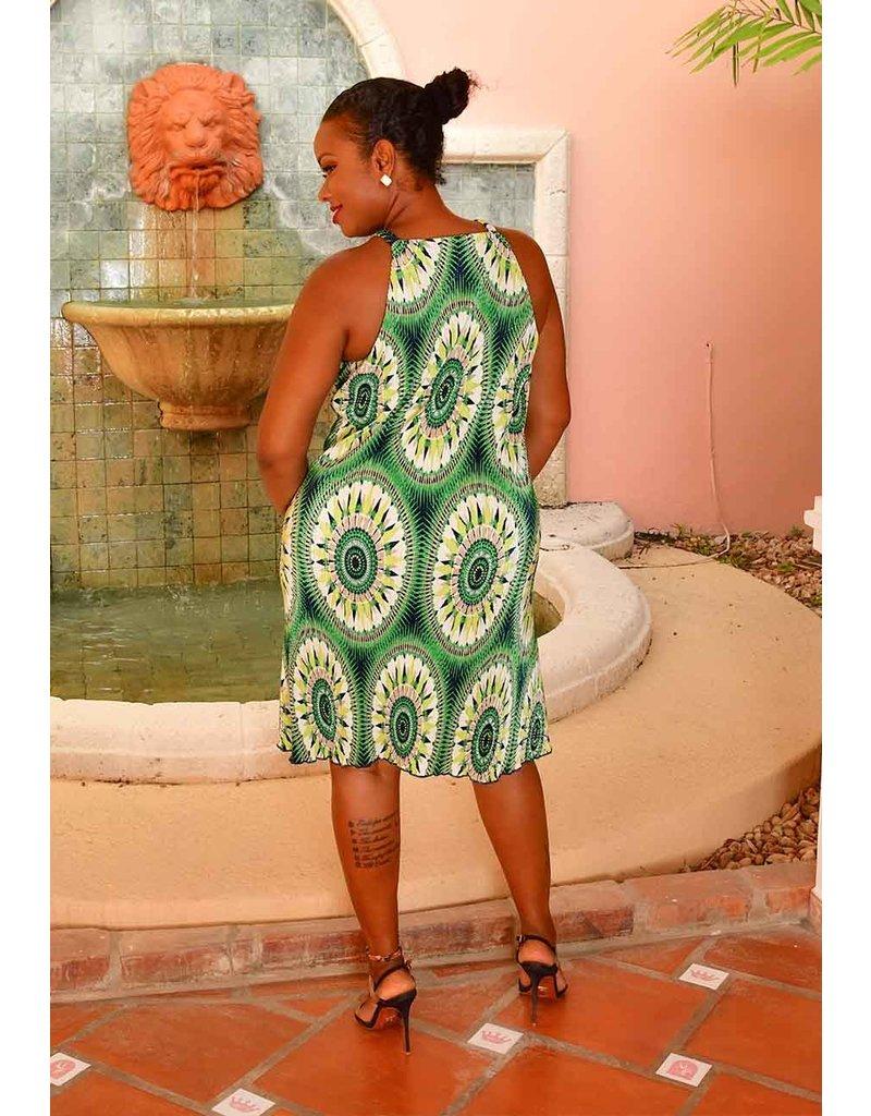 A U W SHARY- Ankra Print Strappy Dress