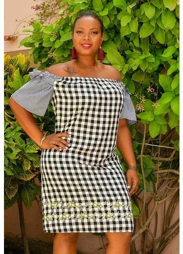 KACIA- Checker Print Off the Shoulder Dress
