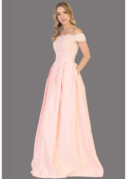 QUINN-Off-Shoulder Applique Long Dress