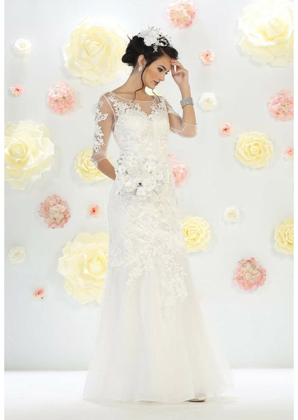 QUINLAN- Bridal Dress with Sheer Sleeves