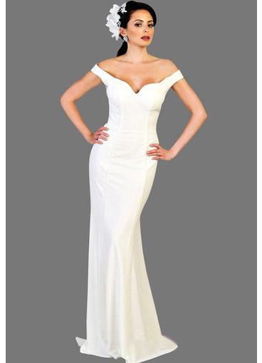 QUENBY- Off-Shoulder V-Neck Bridal Dress