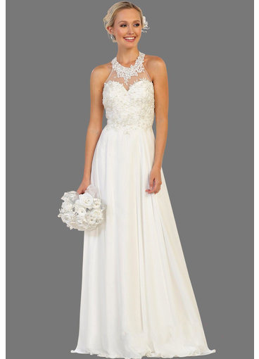 QUESTA- High Neck Bridal Dress with Mesh