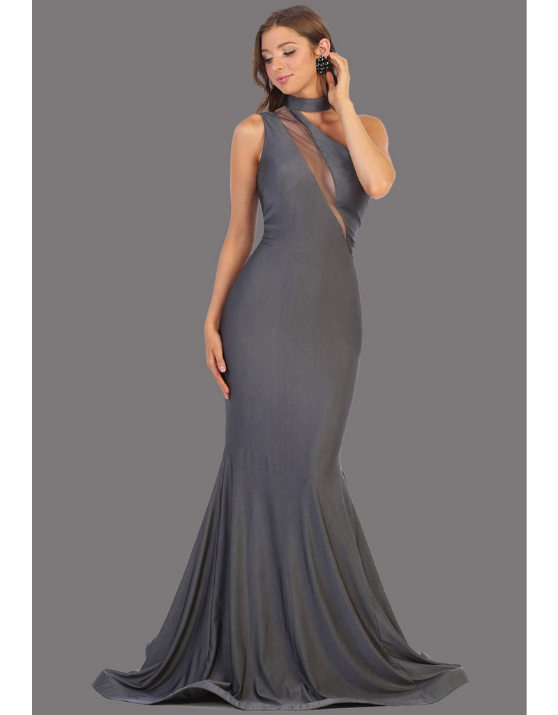 QUENEL- One Shoulder Dress with Illusion Neckline