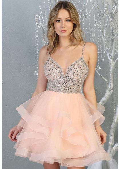QUENT- Short Dress with Mesh Flounce