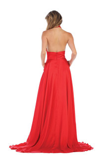 QUINETTE- Long Dress with Crossover Neckline