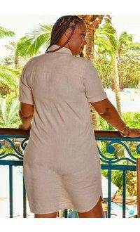 MARISSA OLIVIA NADEAN- Linen Shirt Dress