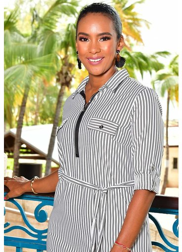 MLLE Gabrielle ILANI-Striped Shirt Dress with Zip