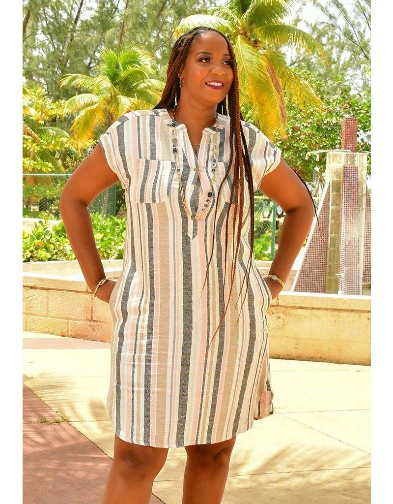 MARISSA OLIVIA NAIR- Striped Shift Dress