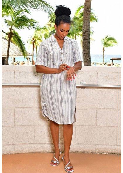 MARISSA OLIVIA NADEAN-Striped Shift Dress with Collar