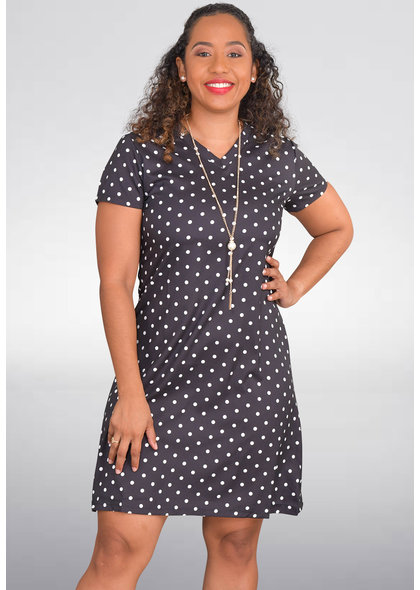 GETS OLVA- Polka Dot Cap Sleeve Dress