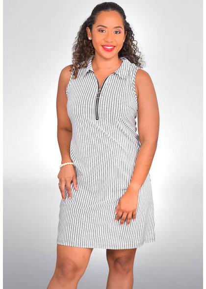 MLLE Gabrielle IHANA- Striped Dress with Zip