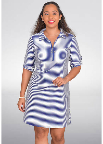 MLLE Gabrielle IKINA-Striped Shirt Dress with 3/4 Sleeves