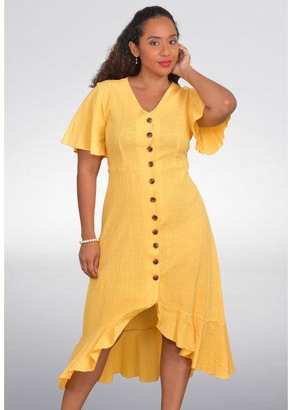 GETS OLEMA- Midi Dress with High Low Hemline