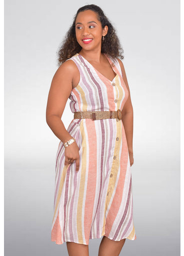MARISSA OLIVIA NIOMI- Belted Striped Dress with Button