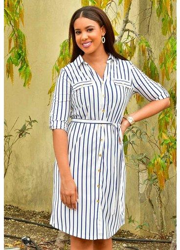 MLLE Gabrielle IFRIDA- Striped Shirt Dress