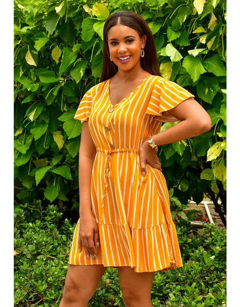 GETS ONIA- Striped Dress with Sash