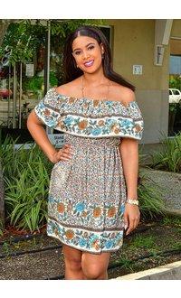 GETS OROCH- Off the Shoulder Printed Dress