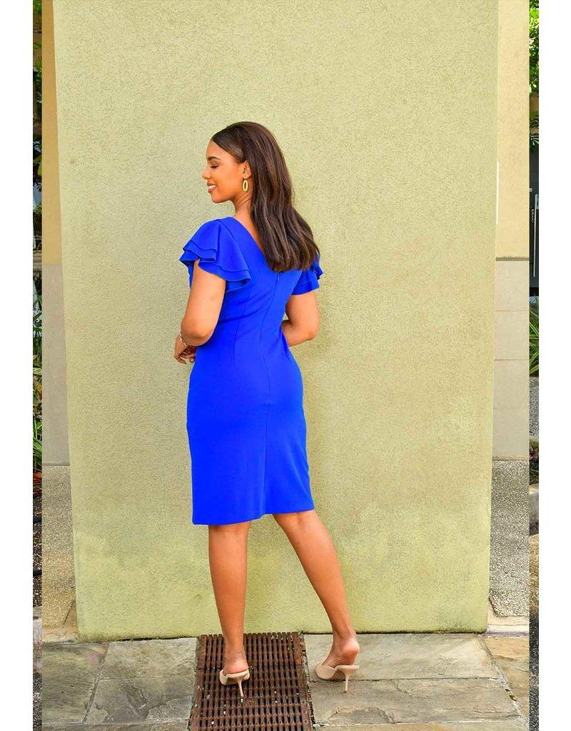 Shelby & Palmer RAIZY- Ruffle Sleeve Faux Wrap Dress