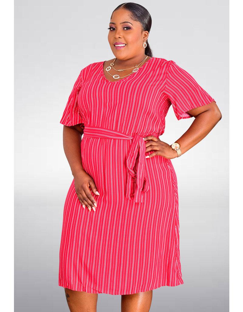 GETS ORIYA- Fit and Flare Stripe Dress