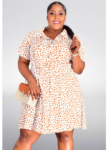 GETS ORLA- Plus Size Printed Shirt Dress