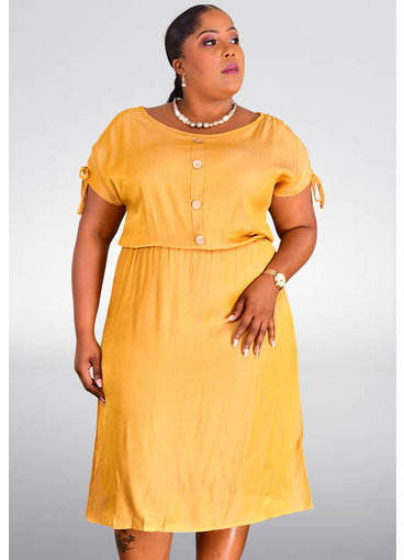 GETS ORAH- Plus Size Sheath Dress with Buttons