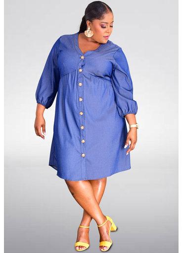MLLE Gabrielle WILLIAM- Plus Size 3/4 Sleeve Jeans Shirt Dress
