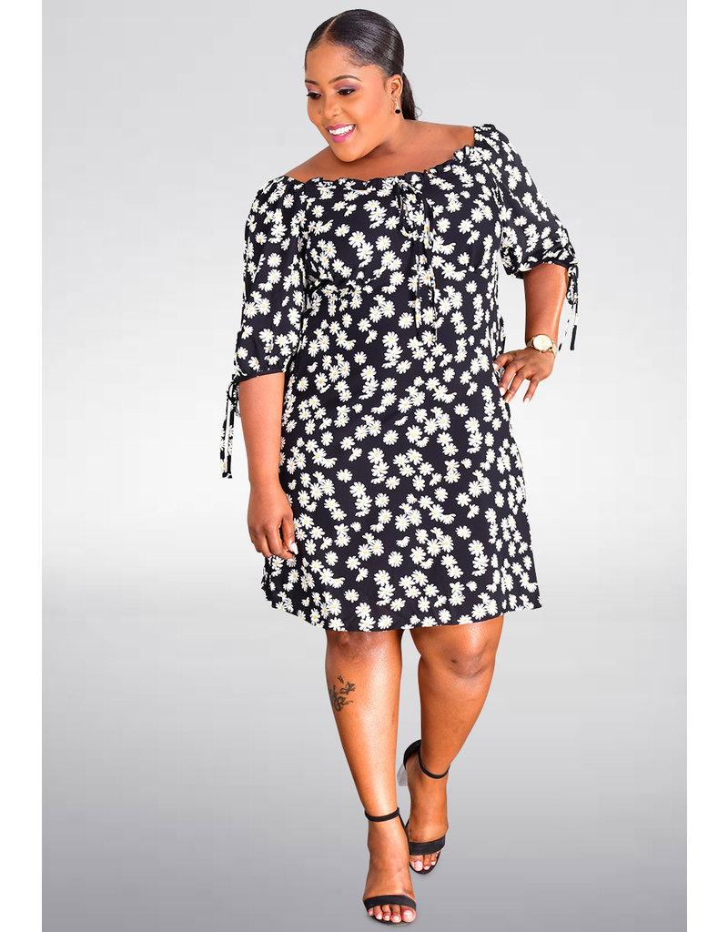 GETS OONA- Floral Print Three Quarter Sleeves Dress
