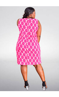 KIOO- Printed Sleeveless Sheath Dress