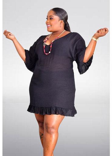 GETS ORSOLA- Short Sleeve V-Neck Dress