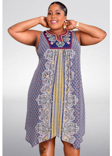 FALUDA- Plus Size Printed Dress with Embroidery Top