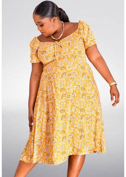 GETS OJAN-Plus Size Floral Print Short Sleeve Dress