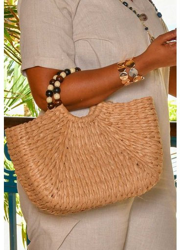 GETS Straw Hand Bag with Beaded Handle
