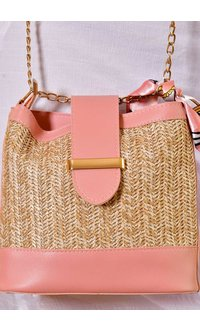 GETS Cross Body Straw Bag with Leather Trim